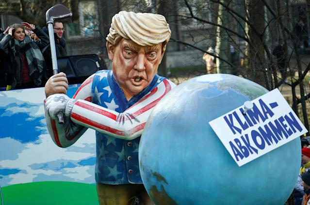 "<p>A carnival float depicting U.S. President Donald Trump at the traditional ""Rosenmontag"" Rose Monday carnival parade in Mainz, Germany, Feb. 12, 2018. (Photo: Ralph Orlowski/Reuters) </p>"