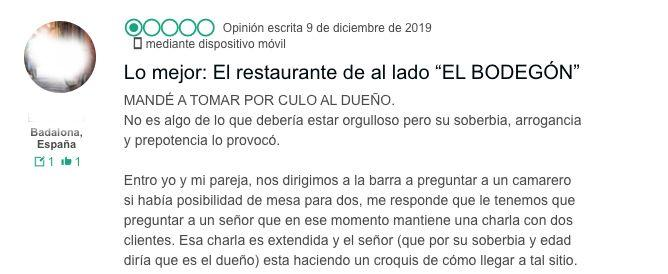 El comentario del usuario. (Photo: TRIPADVISOR)