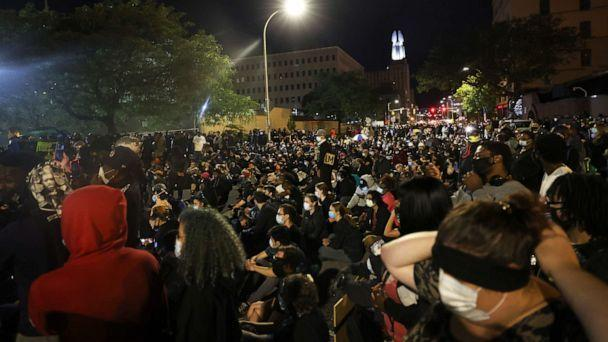 PHOTO: Demonstrators take up space in front of the Public Safety building after marching for Daniel Prude on September 06, 2020 in Rochester, New York. (Michael M. Santiago/Getty Images)
