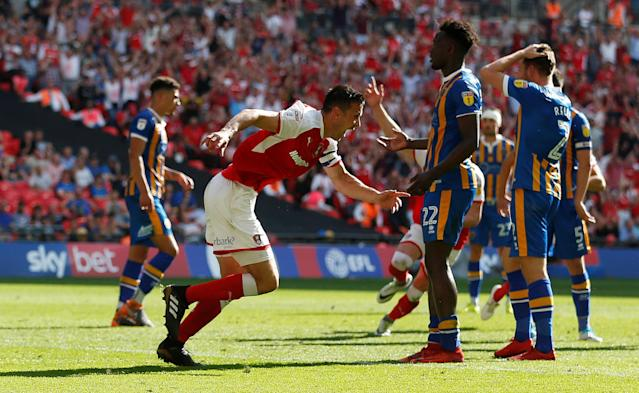"Soccer Football - League One Play-Off Final - Rotherham United v Shrewsbury Town - Wembley Stadium, London, Britain - May 27, 2018 Rotherham's Richard Wood celebrates scoring their second goal Action Images/Carl Recine EDITORIAL USE ONLY. No use with unauthorized audio, video, data, fixture lists, club/league logos or ""live"" services. Online in-match use limited to 75 images, no video emulation. No use in betting, games or single club/league/player publications. Please contact your account representative for further details."
