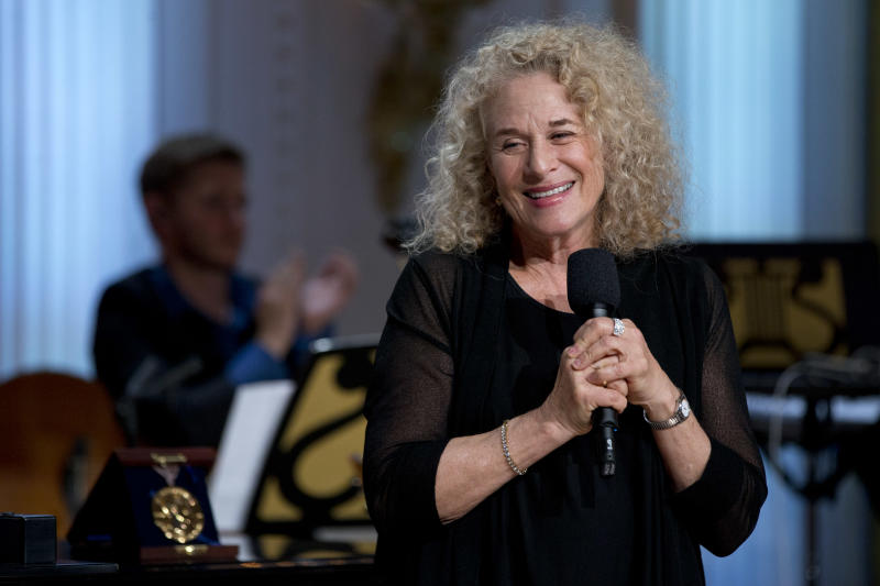 Singer-songwriter Carole King speaks during an East Room concert honoring her with the Library of Congress Gershwin Prize for Popular Song, Wednesday, May 22, 2013, at the White House in Washington. (AP Photo/Jacquelyn Martin)