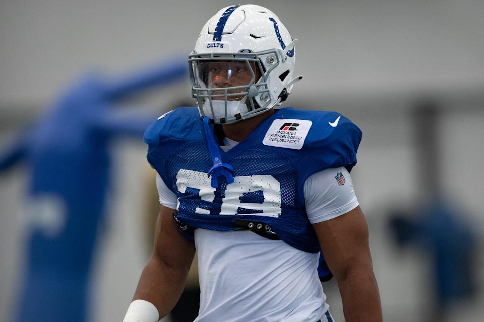 Jonathan Taylor has been showing out in Colts training camp. (Photo by Zach Bolinger/Icon Sportswire via Getty Images)