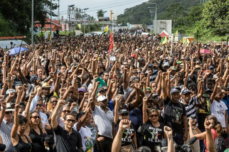 A protest at the Kourou space centre in French Guiana on Tuesday, part of a general strike that has paralysed the territory