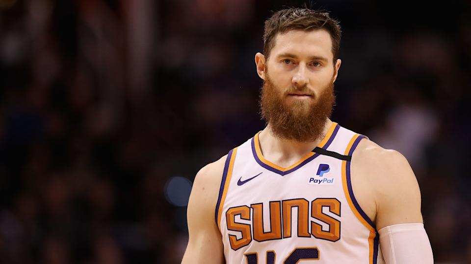 PHOENIX, ARIZONA - JANUARY 07: Aron Baynes #46 of the Phoenix Suns walks on the court during the second half the NBA game against the Sacramento Kings at Talking Stick Resort Arena on January 07, 2020 in Phoenix, Arizona.  The Kings defeated the Suns 114-103. NOTE TO USER: User expressly acknowledges and agrees that, by downloading and or using this photograph, user is consenting to the terms and conditions of the Getty Images License Agreement. (Photo by Christian Petersen/Getty Images)