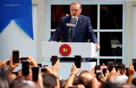 Turkish President Erdogan makes a speech during the re-opening of the Ottoman-era Yildiz Hamidiye mosque in Istanbul