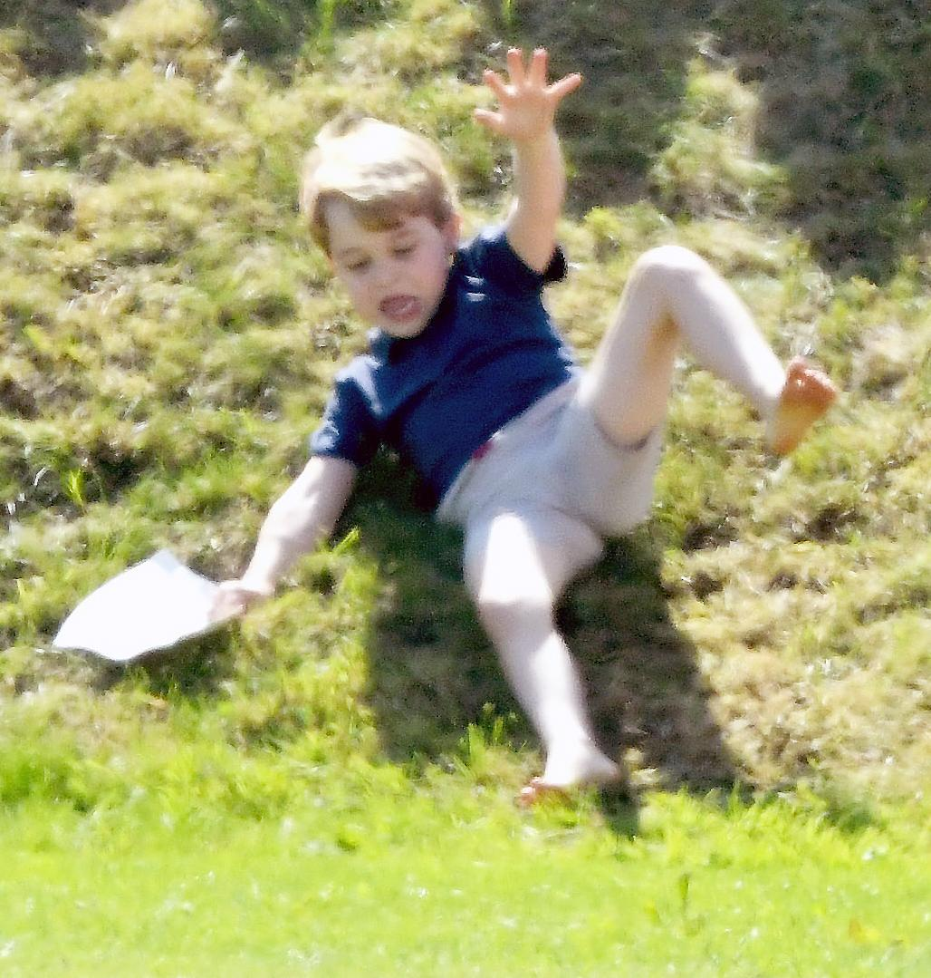 Savannah Phillips Pushes Prince George Down Hill