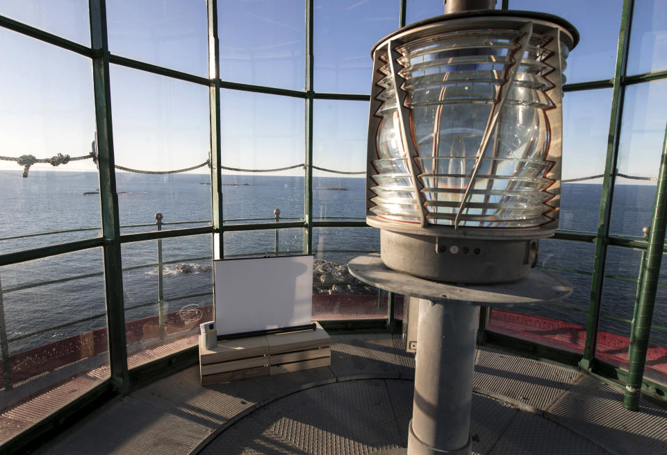 "The interior of a lighthouse, which will act as a screening room, on the island of Hamneskar, western Sweden on Saturday, Jan. 30, 2021. The 44th Goteborg film festival opened this weekend in a mostly virtual format but an emergency ward nurse from Sweden was selected among 12,000 volunteers to spend a week on an isolated island in the North Sea with for only companionship the events' entire movie selection. Lisa Enroth said the opportunity gave her ""time to reflect"" after a busy year amid the COVID pandemic. (AP Photo/Thomas Johansson)"