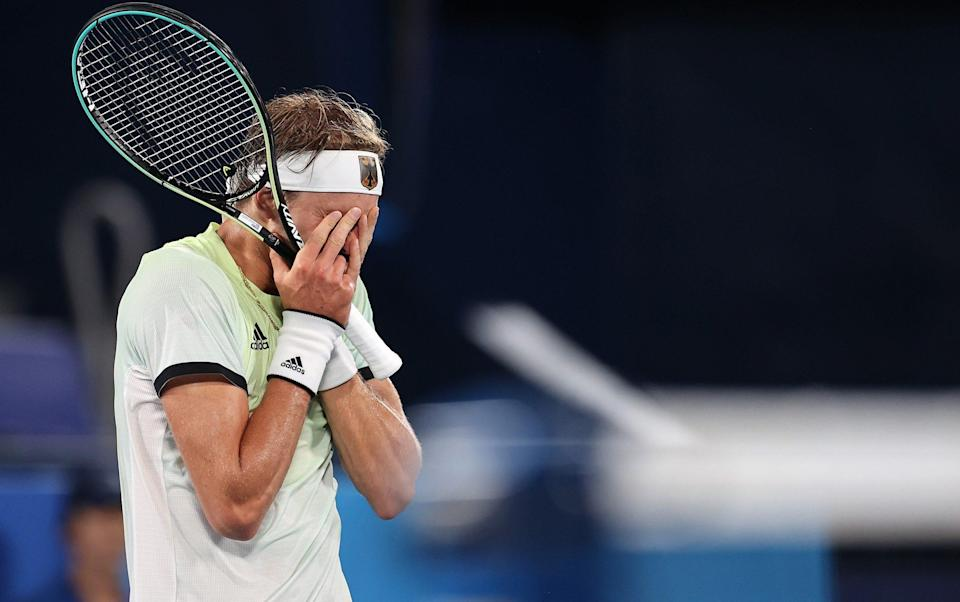 Alexander Zverev of Team Germany celebrates victory after his Men's Singles Semifinal match against Novak Djokovic of Team Serbia on day seven of the Tokyo 2020 Olympic Games at Ariake Tennis Park on July 30, 2021 in Tokyo, Japan - Getty Images