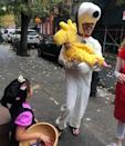 """Ben's first <a href=""""https://people.com/parents/halloween-2019-celebrity-kids-costumes/"""" rel=""""nofollow noopener"""" target=""""_blank"""" data-ylk=""""slk:Halloween"""" class=""""link rapid-noclick-resp"""">Halloween</a> was a success! The 9-month-old dressed up as Woodstock and Dad went as his trusty friend Snoopy."""