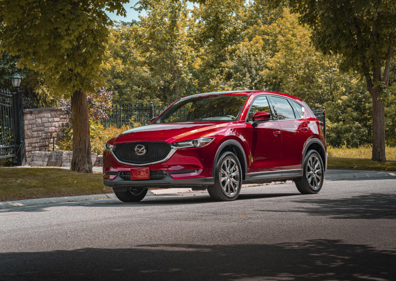 This undated photo provided by Mazda shows the Mazda CX-5, a compact SUV. The CX-5 is one of the quickest small SUVs you can buy if you get the optional 250-horsepower turbocharged engine that's standard starting on the Grand Touring Reserve trim. (Mitchell Hubble/Mazda North America via AP)