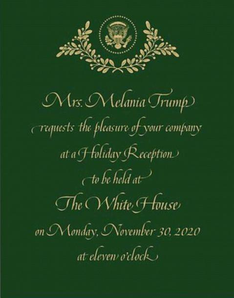 PHOTO: ABC News obtained an invitation to a holiday reception scheduled for Nov. 30, at the White House. (Obtained by ABC News)