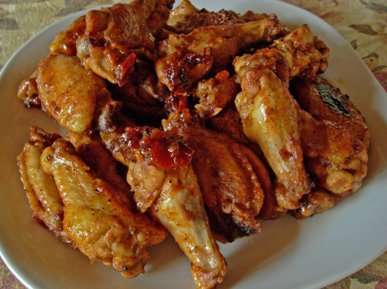 """<p>""""These are great, fast and easy! I like adding the sauce at the end, it gives it just enough time to thicken up on the wings without burning. I will be making this all the time."""" <i>-ashleyvonrock</i> <b><a href=""""http://www.food.com/recipe/oven-barbecued-chicken-wings-20960?oc=PTNR-YahooFood-favorite-chicken-wing-recipes"""" rel=""""nofollow noopener"""" target=""""_blank"""" data-ylk=""""slk:Get the Recipe>>"""" class=""""link rapid-noclick-resp"""">Get the Recipe>></a></b></p><p><i>Recipe by <a href=""""http://share.food.com/community/BeckyF/style.esi?member_id=22898?oc=PTNR-YahooFood-favorite-chicken-wing-recipes"""" rel=""""nofollow noopener"""" target=""""_blank"""" data-ylk=""""slk:Becky F"""" class=""""link rapid-noclick-resp"""">Becky F</a>; Photo by <a href=""""http://share.food.com/community/Chef-Joey-Z/style.esi?member_id=385999?oc=PTNR-YahooFood-favorite-chicken-wing-recipes"""" rel=""""nofollow noopener"""" target=""""_blank"""" data-ylk=""""slk:Chef Joey Z."""" class=""""link rapid-noclick-resp"""">Chef Joey Z.</a> </i></p>"""