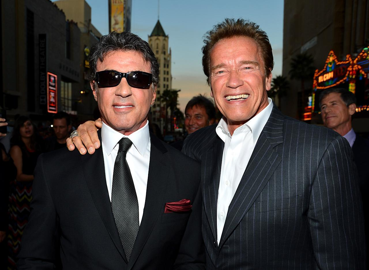 "HOLLYWOOD, CA - AUGUST 15:  Actor/Writer/Director Sylvester Stallone and actor Arnold Schwarzenegger arrive at Lionsgate Films' ""The Expendables 2"" premiere on August 15, 2012 in Hollywood, California.  (Photo by Frazer Harrison/Getty Images)"