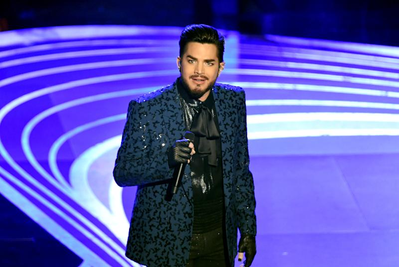 "Adam Lambert opened the 2019 Academy Awards with a medley of ""We Will Rock You"" and ""We Are The Champions"" alongside original Queen members Brian May and Roger Taylor.  (Kevin Winter via Getty Images)"