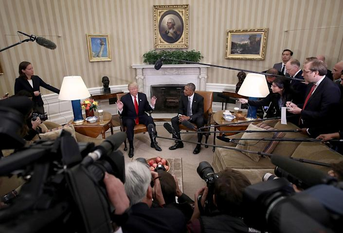 <p>President-elect Donald Trump talks after a meeting with President Obama in the Oval Office on Nov. 10, 2016. (Win McNamee/Getty Images) </p>