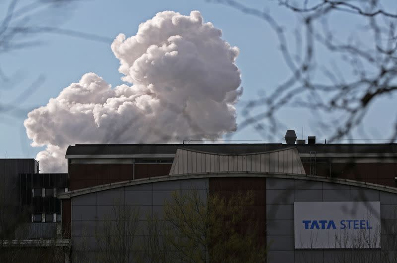 Smoke is seen coming out of a chimney at the Tata steel plant in Ijmuiden