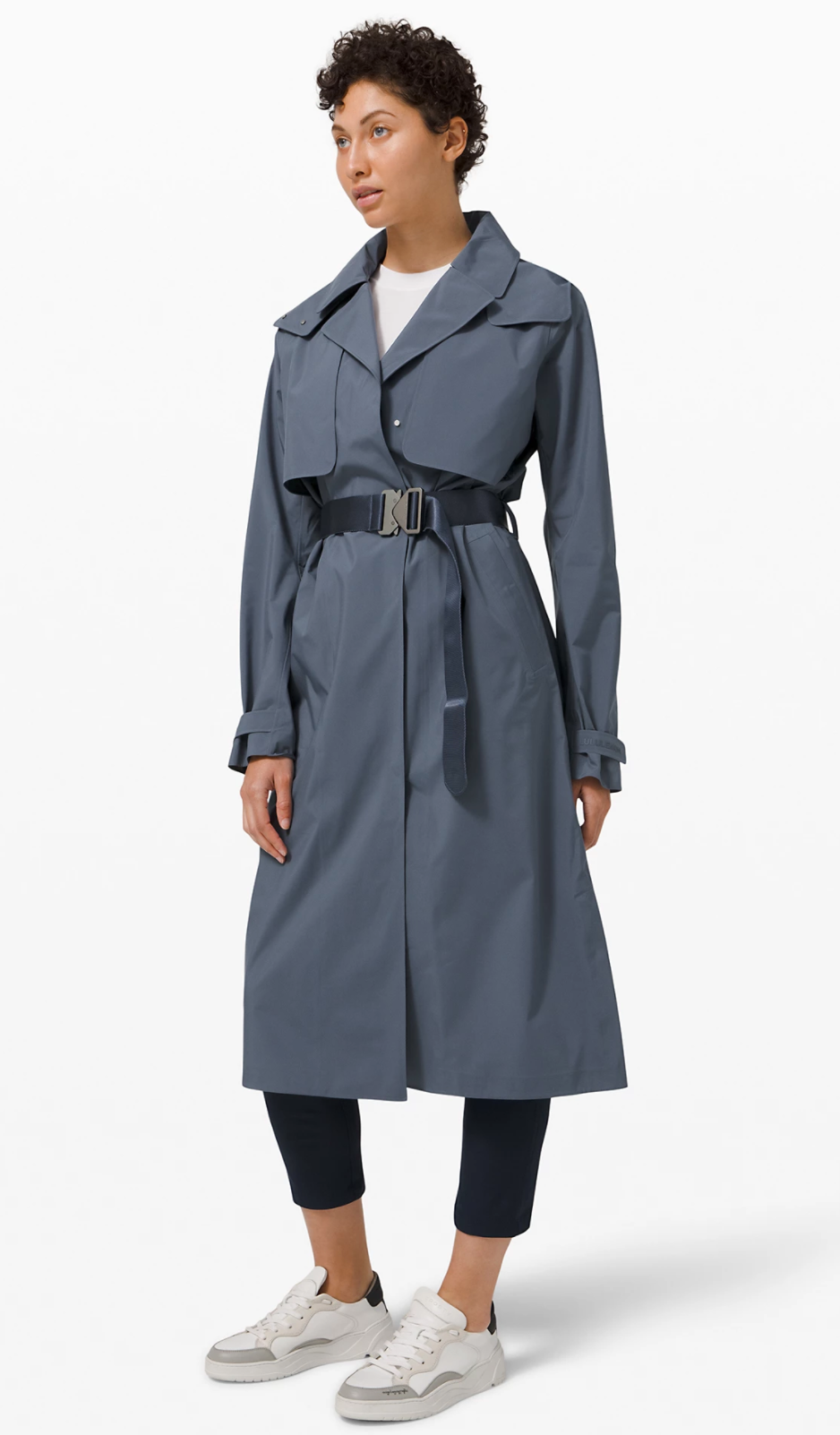 Always There Trench Coat in Iron Blue (Photo via Lululemon Athletica)