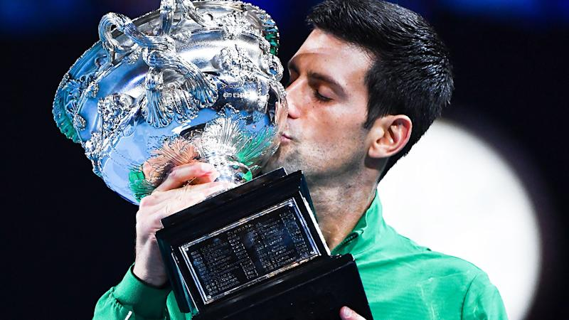 Novak Djokovic, pictured here celebrating with the Australian Open trophy.
