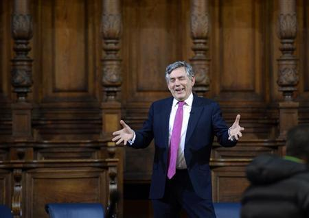 Former British PM Brown speaks at the inaugural meeting of the Global Citizenship Commission at the University of Edinburgh in Edinburgh, Scotland