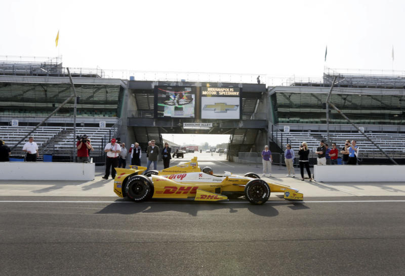 NASCAR driver Kurt Busch leaves the pit area in an Andretti Autosport Indycar during a testing session at the Indianapolis Motor Speedway in Indianapolis, Thursday, May 9, 2013. (AP Photo/AJ Mast)