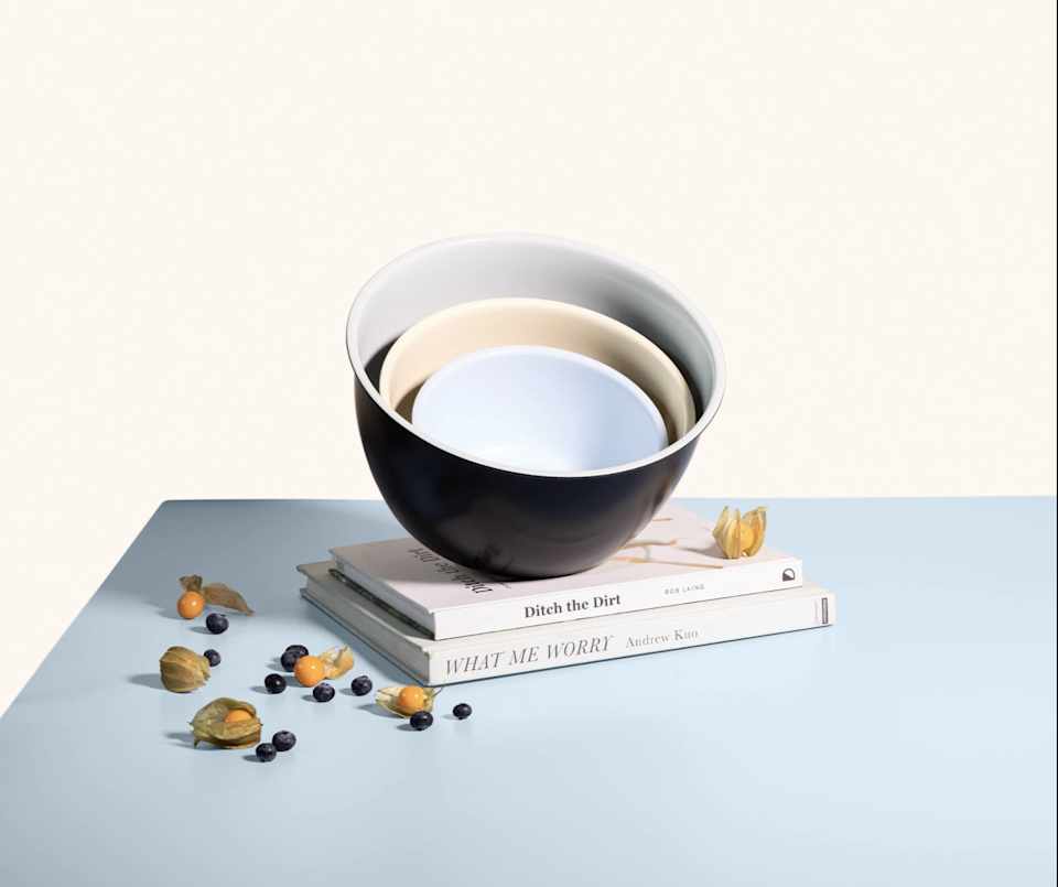"""<h2>Mixing Bowls</h2><br>Indulge in smooth, glossy non-stick mixing bowls with matching lids.<br><br><strong>Equal Parts</strong> Mixing Bowls, $, available at <a href=""""https://go.skimresources.com/?id=30283X879131&url=https%3A%2F%2Fequalparts.com%2Fproducts%2Fyour-mixing-bowls%2F%3F"""" rel=""""nofollow noopener"""" target=""""_blank"""" data-ylk=""""slk:Equal Parts"""" class=""""link rapid-noclick-resp"""">Equal Parts</a>"""