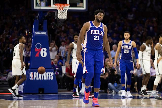 """Lingering pain in his left knee has sidelined <a class=""""link rapid-noclick-resp"""" href=""""/nba/players/5294/"""" data-ylk=""""slk:Joel Embiid"""">Joel Embiid</a> for Game 3. (AP)"""