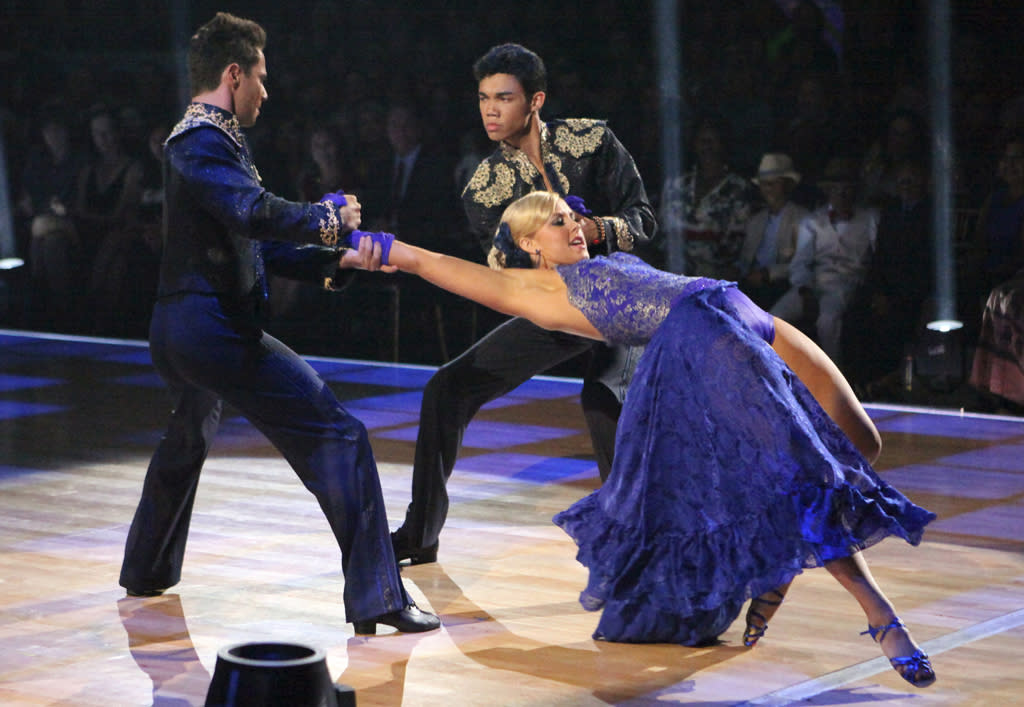 "Sasha Farber, Roshon Fegan and Chelsie Hightower perform on ""Dancing with the Stars."""