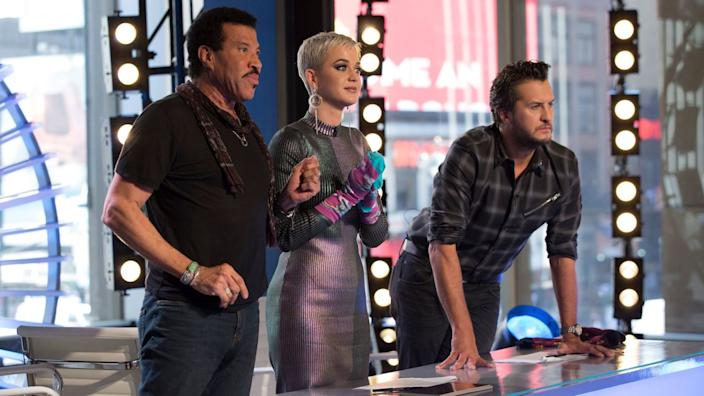"""""""American Idol"""" judges Luke Bryan, right, Katy Perry and Lionel Richie. <span class=""""copyright"""">(Eric Liebowitz / ABC )</span>"""