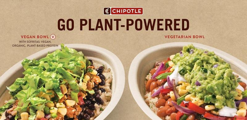Chipotle ad showing its Plant-Powered bowls.
