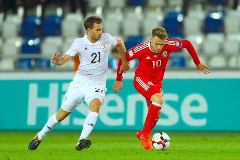 Ramsey drives Wales forward during their win in Georgia: PA