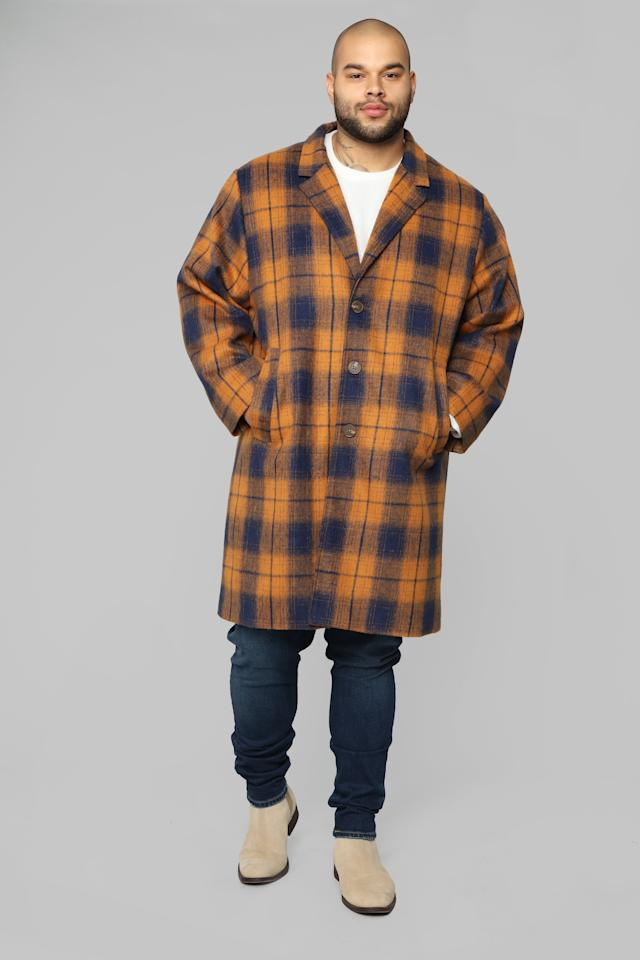 """<p>This tartan duster coat looks great paired with jeans and sneakers for a laid-back weekend look.<br /><a rel=""""nofollow"""" href=""""https://fave.co/2SGI2Tk""""><strong>Shop it:</strong> </a>Smart Guy Overcoat in Rust, <a rel=""""nofollow"""" href=""""https://fave.co/2SGI2Tk"""">$60</a> </p>"""