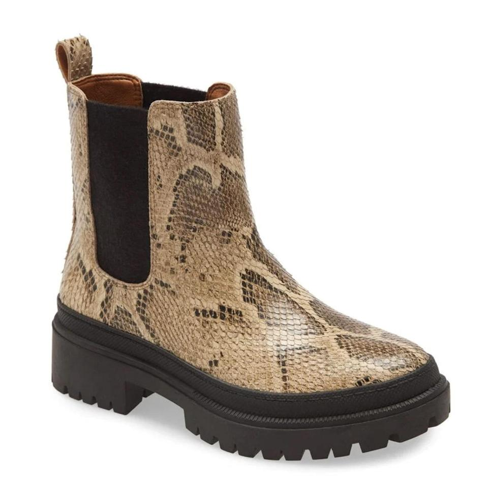 """Snake-print isn't dead, but we <em>are</em> a bit dead at this deep discount at Nordstrom right now. $150, Nordstrom. <a href=""""https://www.nordstrom.com/s/lucky-brand-ellerey-lug-leather-bootie-women/5754203"""" rel=""""nofollow noopener"""" target=""""_blank"""" data-ylk=""""slk:Get it now!"""" class=""""link rapid-noclick-resp"""">Get it now!</a>"""