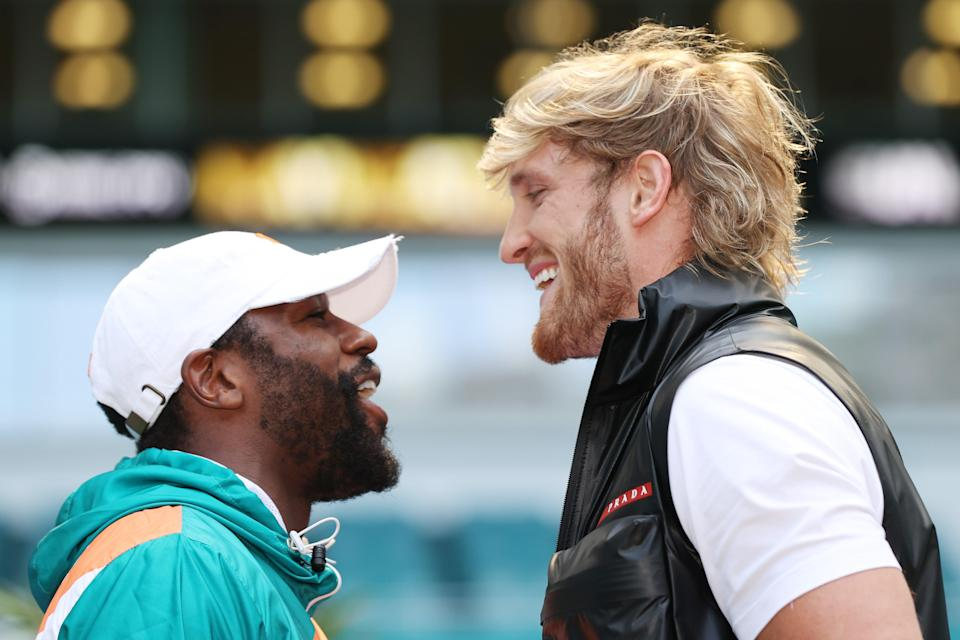 Floyd Mayweather and Logan Paul face off (Getty)