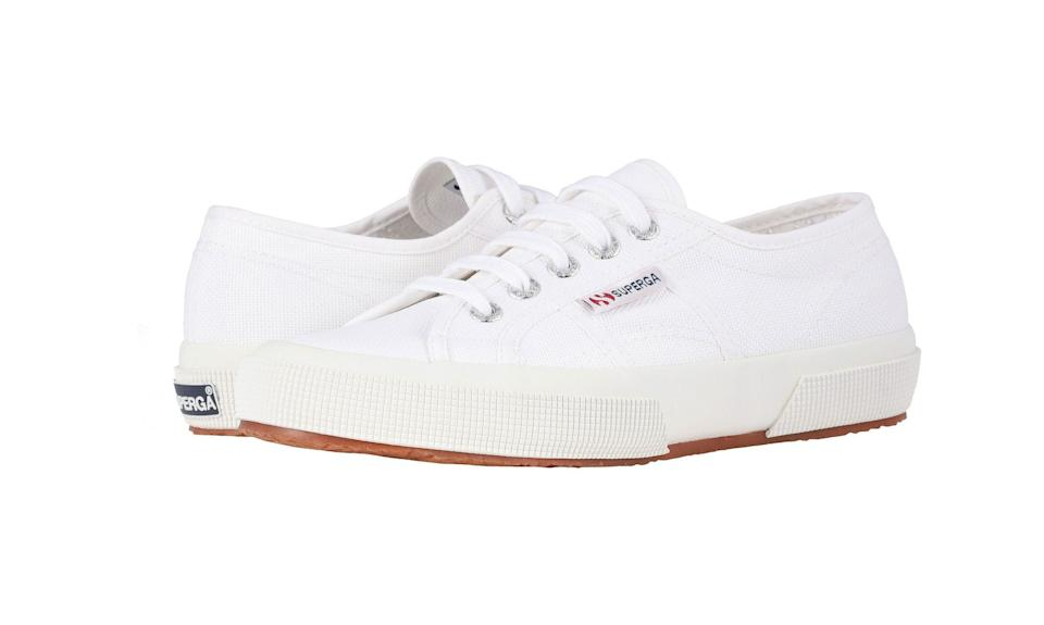 The lace-up sneakers are made with study canvas and a cushioned footbed for stability and all-day comfort. (Photo: Zappos)