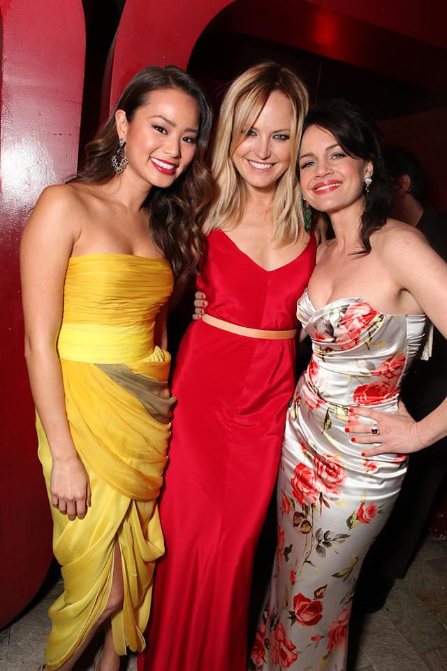 "<a href=""http://movies.yahoo.com/movie/contributor/1809766996"">Jamie Chung</a>, <a href=""http://movies.yahoo.com/movie/contributor/1808422842"">Malin Akerman</a> and <a href=""http://movies.yahoo.com/movie/contributor/1800024683"">Carla Gugino</a> at the Los Angeles premiere of <a href=""http://movies.yahoo.com/movie/1810133258/info"">Sucker Punch</a> on March 23, 2011."