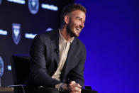 David Beckham, Inter Miami CF co-owner, is interviewed during the Major League Soccer 25th Season kickoff event in New York, Wednesday, Feb. 26, 2020. (AP Photo/Richard Drew)