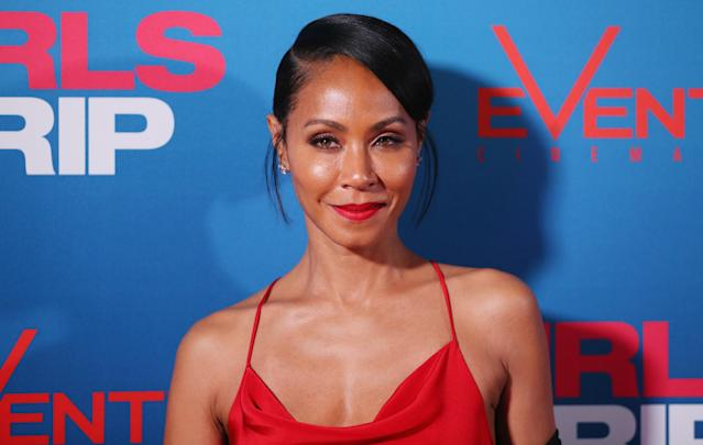 Jada Pinkett Smith, on the red carpet in August, is shooting down Leah Remini's claim that she's a Scientologist. (Photo: Getty Images)