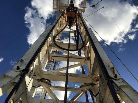 FILE PHOTO: The Elevation Resources drilling rig is shown at the Permian Basin drilling site in Andrews County, Texas, U.S. in this photo taken May 16, 2016. REUTERS/Ann Saphir/File Photo