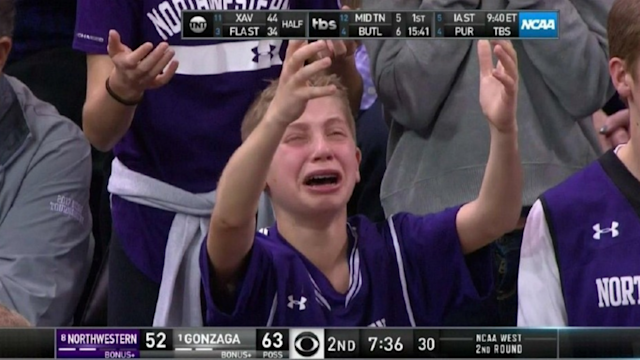 Step aside crying piccolo girl, there's a new face of NCAA heartbreak taking over the internet — crying Northwestern kid.