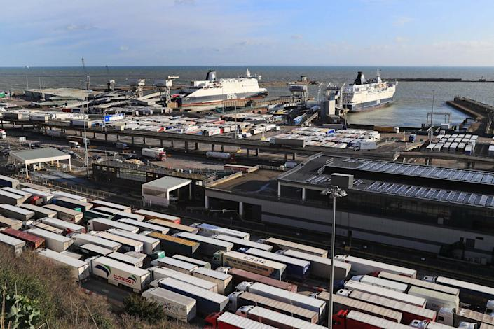 Lorries queue for ferries at the Port of Dover in Kent. (PA)