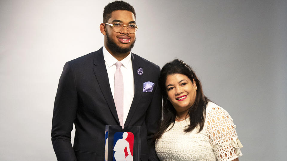 NBA player Karl-Anthony Towns has lost his mother Jacqueline Cruz, and six other family members to the coronavirus as the pandemic worsens across America. (Photo by Brian Peterson/Star Tribune via Getty Images)