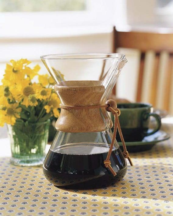 <p>Brew a full-bodied coffee with this aesthetic <span>Chemex Wood Collar Glass Coffee Maker</span> ($36 for three-cup maker).</p>