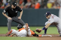 Baltimore Orioles' Chris Davis, left, slides in under the tag of Houston Astros shortstop Carlos Correa with a double as second base umpire Mike Everitt watches during the sixth inning of a baseball game, Saturday, Aug. 10, 2019, in Baltimore. (AP Photo/Julio Cortez)