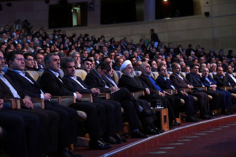Iranian President Hassan Rouhani attends the National Insurance and Development Conference in Tehran