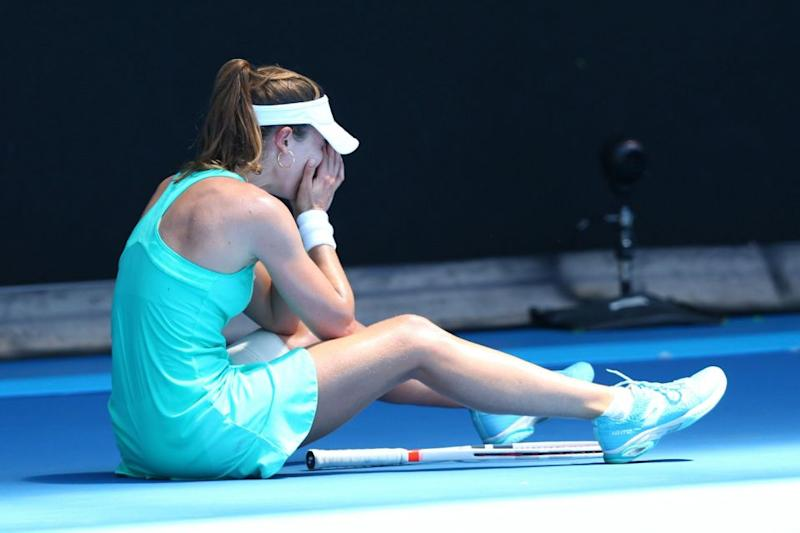 Cornet struggles to recover after breaking down. Pic: Seven