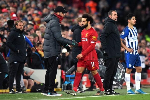Mohamed Salah was taken off with Liverpool 2-0 up (Anthony Devlin/PA)