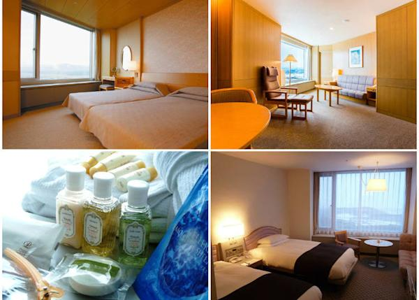 1: Comfortable and spacious suite room with breath-taking view (top 2 photos). 2: Twin room (bottom right). 3: Shampoo, toothbrushes, and other amenities are offered in every room. The suite rooms also contain ladies' personal amenities.