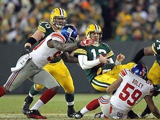 New York sacked Aaron Rodgers four times, two more times than when the Packers and Giants met on Dec. 4