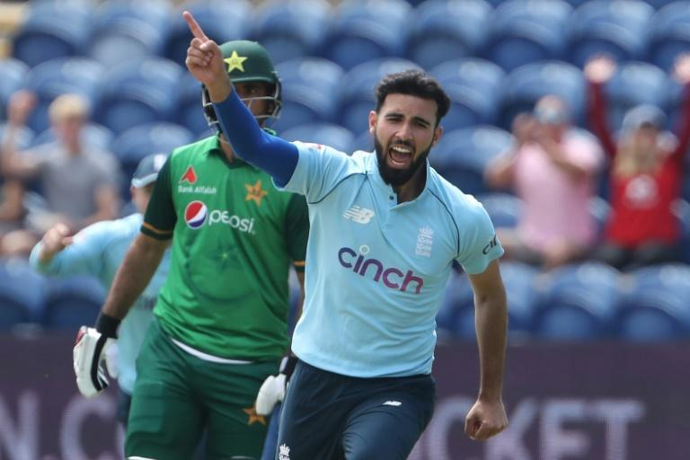 Key wicket - England's Saqib Mahmood celebrates dismissing Pakistan captain Babar Azam for a duck in the first ODI at Cardiff on Thursday