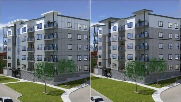On the left is the original mockup of the Atlantic given to the planning advisory committee in 2020, with cement siding. On the right is the updated design using metal siding presented in May. The committee denied the developers' request to use the new plan.